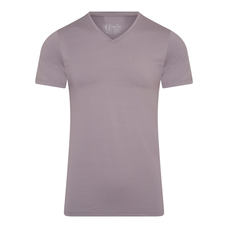 RJ Pure Color Heren V-hals T-Shirt Taupe S