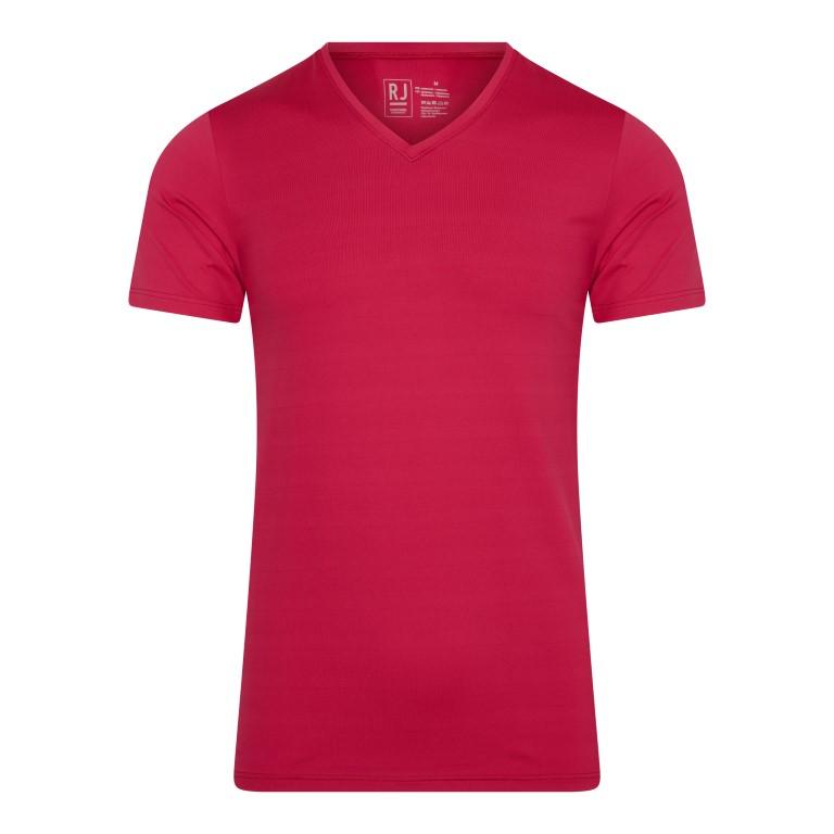 RJ Pure Color Heren V-hals T-Shirt Donkerrood S