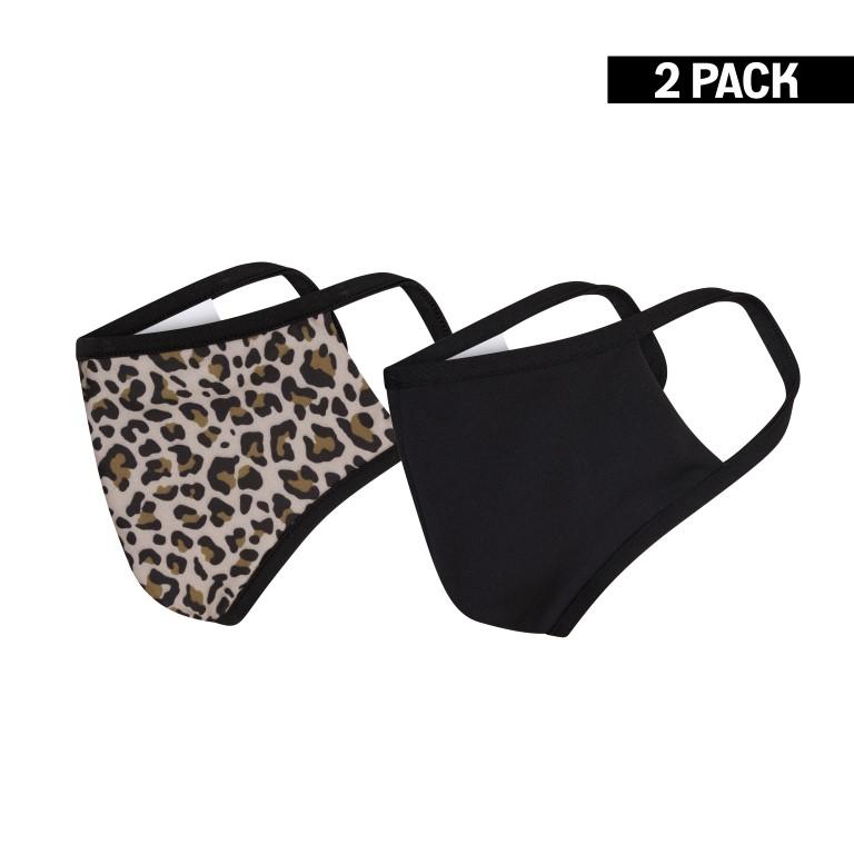 Dames 2-Pack Mondkapjes Leopard Bruin/Zwart maat S