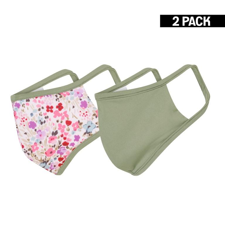 Dames 2-Pack Mondkapjes Flowers/Olijf maat S