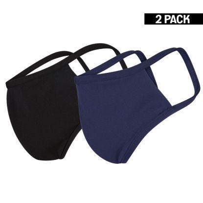 Dames 2-Pack Mondkapjes Zwart/Donkerblauw maat S