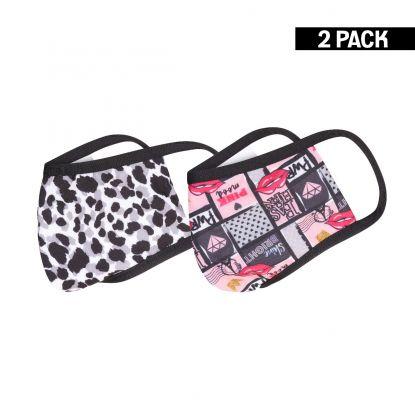 Kids 2-Pack Mondkapjes Lips/Leopard 10-16 jaar