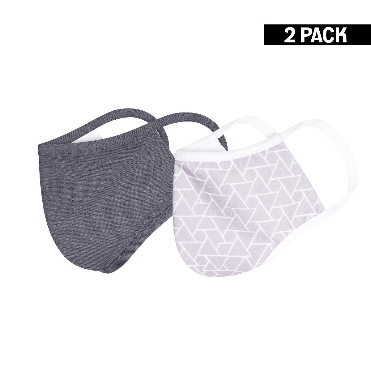 Heren 2-Pack Mondkapjes Triangle/Grijs maat M